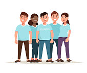 Vector illustration team of multiethnic volunteer together. Concept social community service