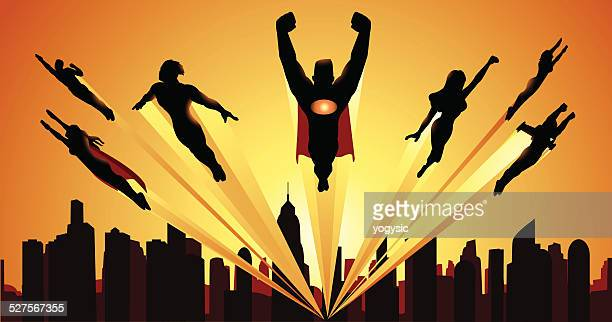 Team of Superheheroes Flying Silhouette