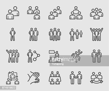 Team people, Teamwork, Partnership, Success line icon : Vector Art