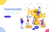 Success concept banner. Can use for web banner, infographics, hero images. Flat isometric vector illustration isolated on white background.