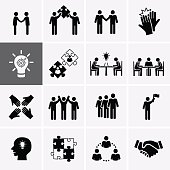 Team Work, Career and Business Process Icons set. Vector human resource management
