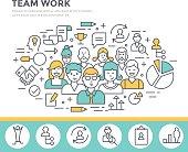 Team work concept illustration thin line flat design