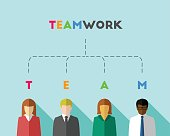 Multicultural group of business people symbolizing the meaning of teamwork