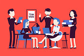 Team work in office. Business style vector concept illustration