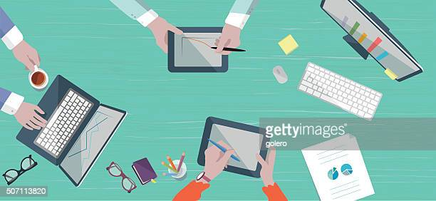 teamwork business scene on table in flat style