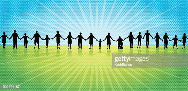 Lavoro di squadra, comunità, tenendo le mani sullo sfondo