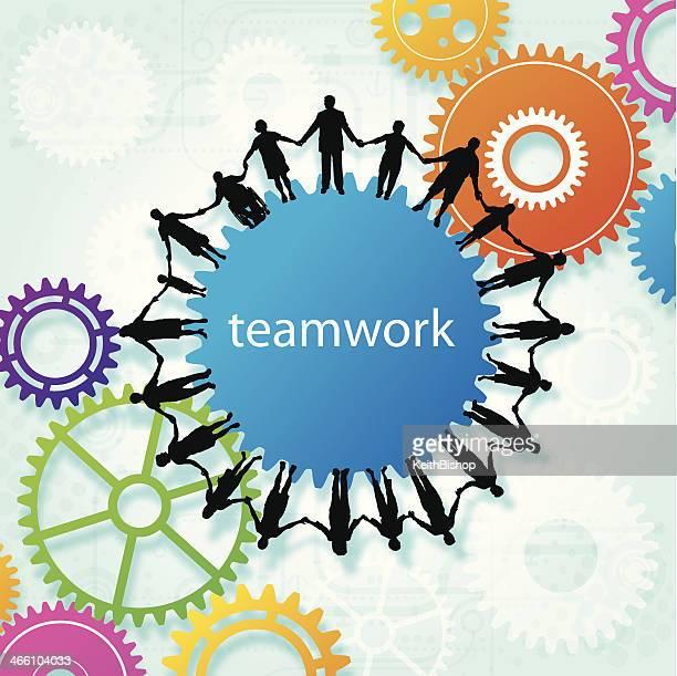 Teamwork, Community, Holding Hands, Gear Background