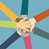Teamwork concept. Friends with stack of hands showing unity and teamwork, top view. Young people putting their hands together. Flat vector illustration