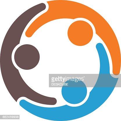 Groupe de travail d'équipe de trois partenaires Illustration : Clipart vectoriel