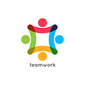 teamwork icon business concept. Team work union logo on white background 10 eps