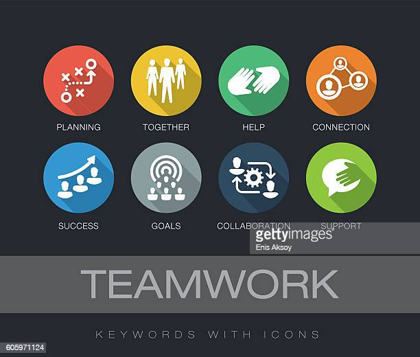 Teamwork keywords with icons