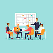 Teamwork, office, workplace, characters, business, planning board. Flat design vector illustration.