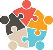 Teamwork People five puzzle pieces. Vector graphic design