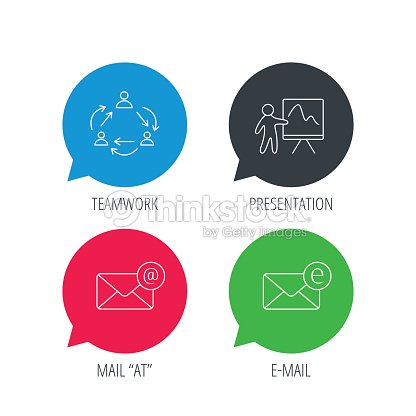 teamwork presentation and email icons stock illustration thinkstock
