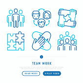 Teamwork thin line icons set: group of people, mutual assistance, meeting, handshake, cooperation, puzzle, team spirit, cooperation. Modern vector illustration.