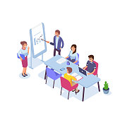 Business people characters set. Teamwork and partnership concept.  Flat isometric vector illustration isolated on white background.