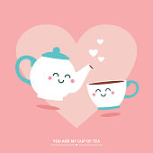 Simple flat vector illustration of cute teapot and cup with faces on pink heart background. Valentine's day greeting card.