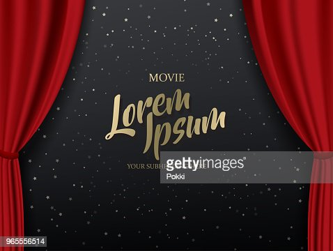 Teather stage template with red heavy curtain and golden text. : stock vector