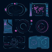 Tech interface futuristic high tech symbols. Hud ui. Digital display, infographic cyberspace visualization. Vector illustration
