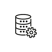 Technical data line icon. Data development, database setup, data server setting. Database concept. Vector illustration can be used for topics like technology, information, internet