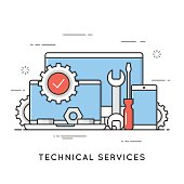 Technical services, computer repair, support. Flat line art style concept. Vector banner, icon, illustration. Editable stroke.