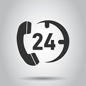 Technical support 24/7 vector icon in flat style. Phone clock help illustration on white background. Computer service support concept.