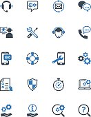Set of icons representing technical support services, customer assistance, customer service and support.
