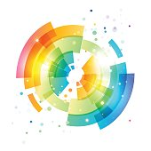 Techno geometric vector circle modern futuristic abstract background, colorful rounded element on white background