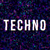 Techno music sign at glitched background.