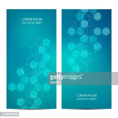 6 각형 분자와 기술 및 과학적인 배너 : 벡터 아트