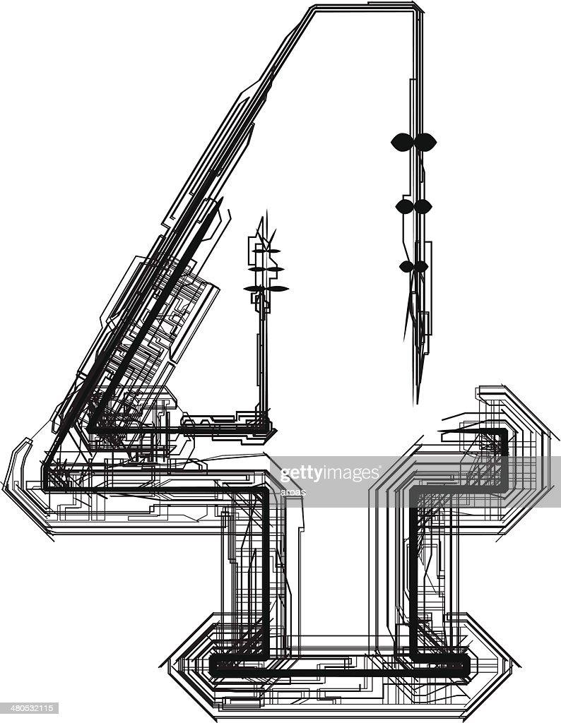 Technologische Schriftart.  Zahl 4 : Vektorgrafik