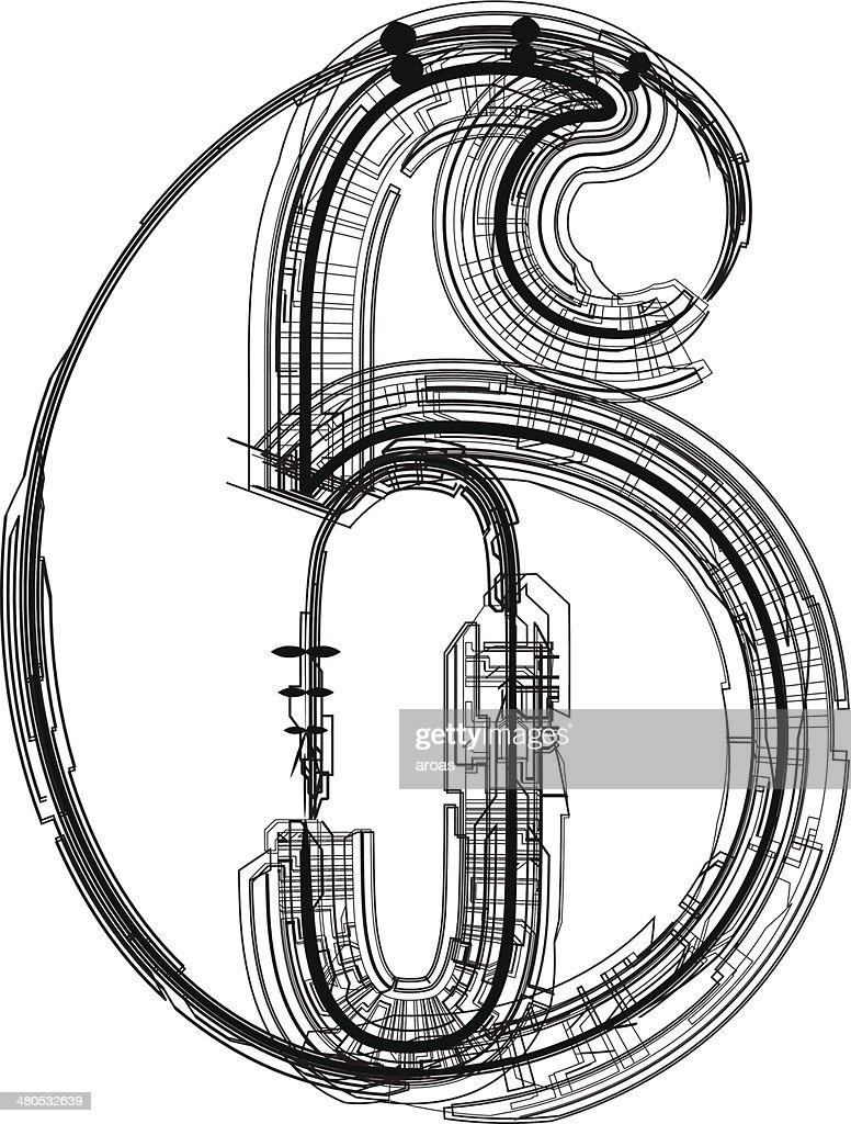 technological font. Number 6 : Vektorgrafik