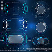 set of technological elements HUD design, futuristic elements with virtual reality