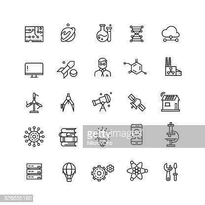 Tecnologie e scienza vettoriale icone linea : Arte vettoriale
