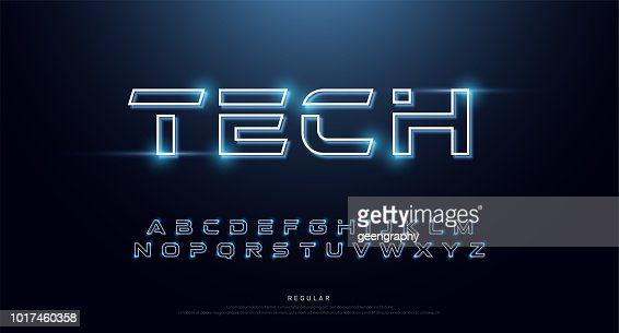 Technology abstract neon font and alphabet. techno effect logo designs. Typography digital space concept. vector illustration : stock vector