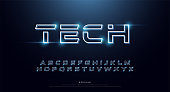 Technology abstract neon font and alphabet. techno effect logo designs. Typography digital space concept. vector illustration