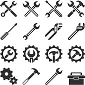 Technology and maintenance service tools vector icons. Repair service icon, illustation of maintenance setting