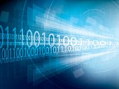 Technology background futuristic abstract blue and digital bright lights binary code, design of vector illustration.