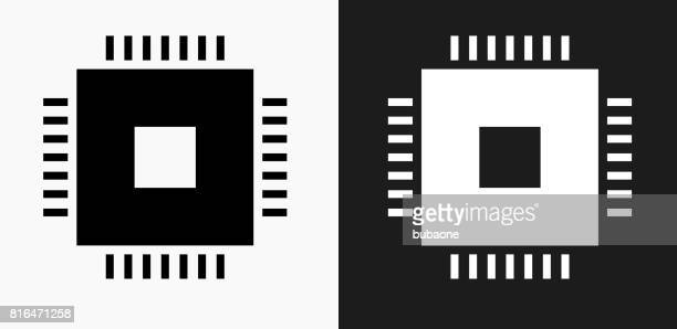 Technology Chip Icon on Black and White Vector Backgrounds