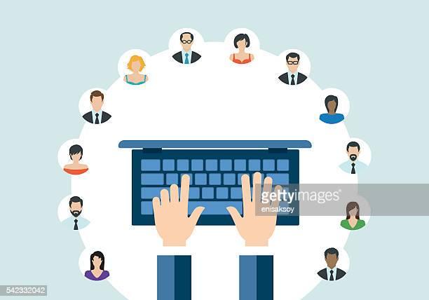 Technologie de la la communication Concept de réseau webinaire
