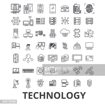 Technology, computer, it, innovation, science, information, cloud network line icons. Editable strokes. Flat design vector illustration symbol concept. Linear signs isolated : Vector Art