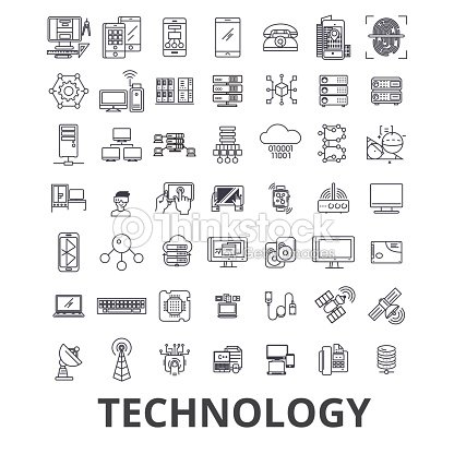 Technology, computer, it, innovation, science, information, cloud network line icons. Editable strokes. Flat design vector illustration symbol concept. Linear signs isolated : stock vector