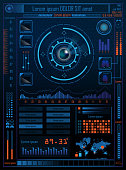 Technology Concept With Hud, Gui Design Elements. Head-up Display Monitor. Futuristic User Interface. Infographic Menu Ui For Vr. Hi Tech Concept Background Template. Vector Illustration.