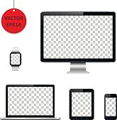 Computer monitor, laptop, tablet, mobile phone and smart watch with transparent screen. Isolated on white background. Vector illustration.