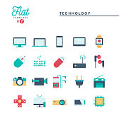 Technology, devices, gadgets and more, flat icons set, vector illustration