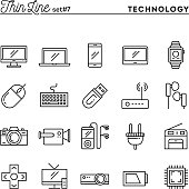 Technology, devices, gadgets and more, thin line icons set, vector illustration