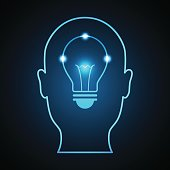 technology digital future creative idea abstract background; bright blue light bulb inside human head front view; vector illustration.