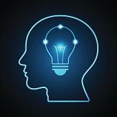 technology digital future creative idea abstract background; bright blue light bulb inside human head side view; vector illustration.