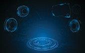 virtual realistic VR technology hud screen hi tech sci fi concept eps 10 vector