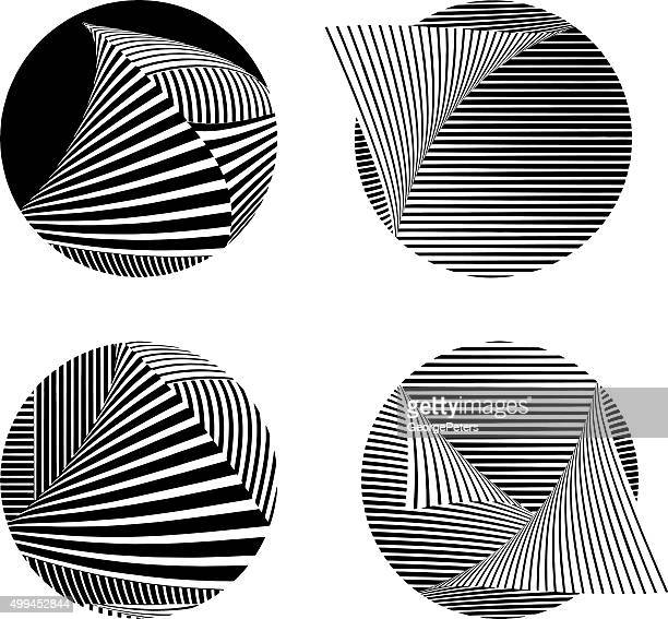 Technology Icon Set with Striped Patterns Isolated on White